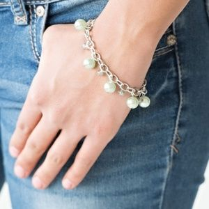 Silver Bracelet With Mint Green Beads